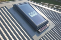 VELUX solar opening on metal roof